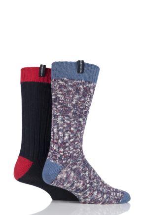 Mens 2 Pair Glenmuir Marl and Plain Boot Socks