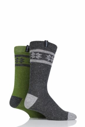Mens 2 Pair Glenmuir Merino Wool Fairisle Boot Socks