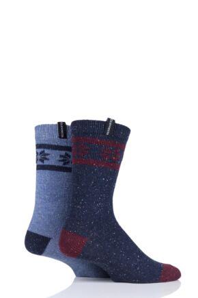 Mens 2 Pair Glenmuir Merino Wool Fairisle Boot Socks