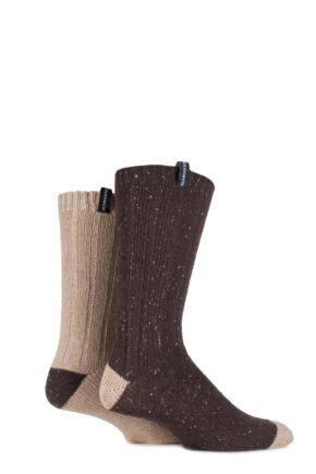 Mens 2 Pair Glenmuir Merino Wool Blend Ribbed Marl Boot Socks