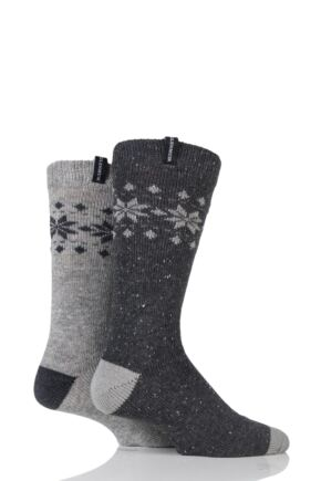 Mens 2 Pair Glenmuir Wool Blend Fairisle Speckled Yarn Boot Socks