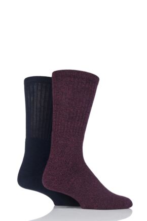 Mens 2 Pair Glenmuir Cotton Marl Cushioned Boot Socks