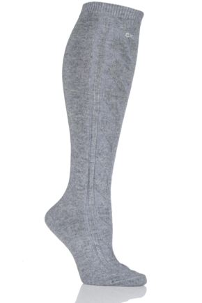 Ladies 1 Pair Calvin Klein Chunky Cable Holiday Socks 25% OFF Grey