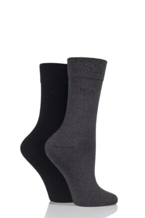 Ladies 2 Pair Elle Plain Bamboo Fibre Socks Grey / Black