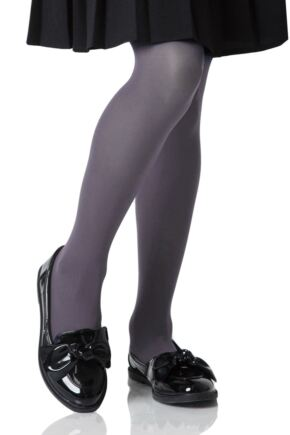 Girls 1 Pair Elle 40 Denier Opaque Tights Grey 8-10