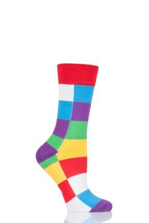 Mens Ladies and Kids 1 Pair SOCKSHOP Friendship Friday with Elmer Patchwork Bamboo Socks