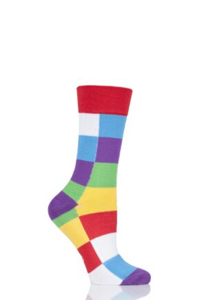 Mens Ladies and Kids 1 Pair SOCKSHOP Friendship Friday with Elmer Patchwork Bamboo Socks