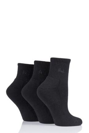 Ladies 3 Pair Pringle Lyndsey Cushioned Sport Socks Black