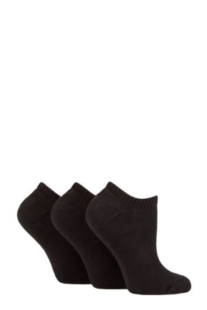 Ladies 3 Pair Pringle Johanne Cushion Trainer Socks Black