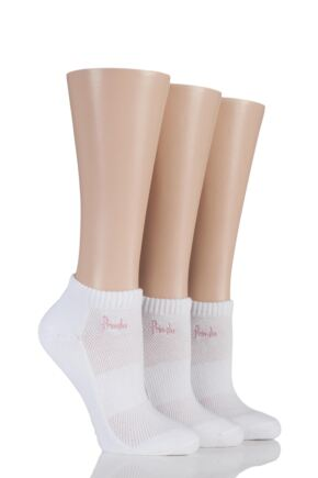 Ladies 3 Pair Pringle Johanne Cushion Trainer Socks White