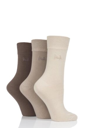 Ladies 3 Pair Pringle Jean Plain Comfort Cuff Cotton Socks Beige 4-8 Ladies
