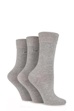 Ladies 3 Pair Pringle Jean Plain Comfort Cuff Cotton Socks Light Grey