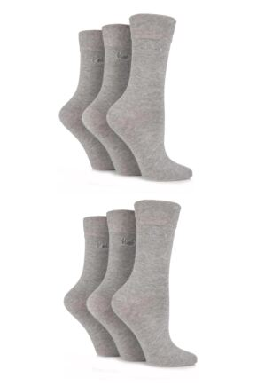 Ladies 6 Pair Pringle Jean Plain Comfort Cuff Cotton Socks