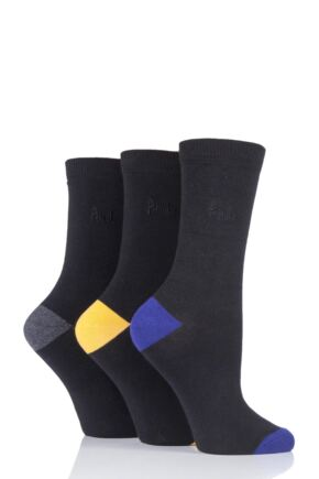 Ladies 3 Pair Pringle Terri-Ann Contrast Heel and Toe Socks