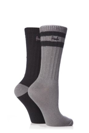 Ladies 2 Pair Pringle Lucy Leisure Socks Charcoal