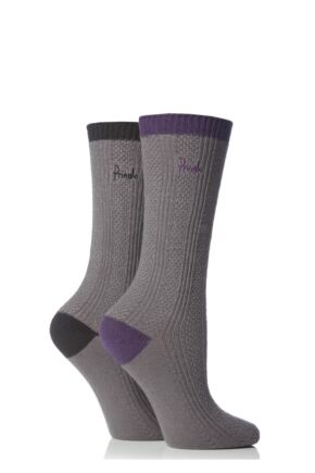 Ladies 2 Pair Pringle Lauren Cotton Contrast Heel and Toe Leisure Socks Charcoal