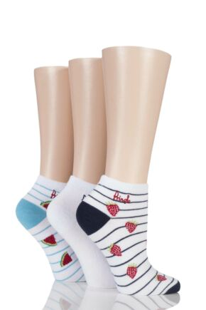 Ladies 3 Pair Pringle Ellen Striped Fruit Cotton Secret Socks White 4-8
