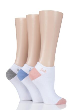 Ladies 3 Pair Pringle Leela Plain Secret Socks White Contrast 4-8 Ladies