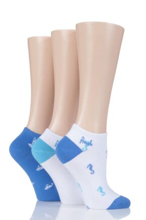 Ladies 3 Pair Pringle Plain and Patterned Secret Socks