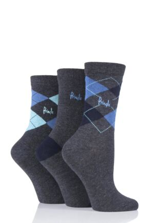 Ladies 3 Pair Pringle Louise Argyle Cotton Socks Grey Assorted 4-8 Ladies
