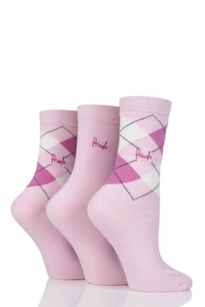 Ladies 3 Pair Pringle Louise Argyle Cotton Socks Pinks