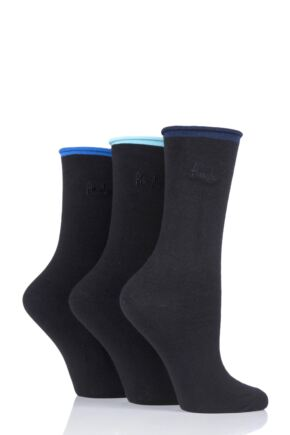 Ladies 3 Pair Pringle Rebecca Contrast Roll Top Socks