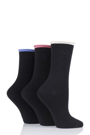 Ladies 3 Pair Pringle Rebecca Contrast Roll Top Socks