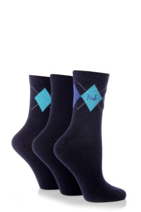 Ladies 3 Pair Pringle Rachael Single Argyle Socks 25% OFF This Style