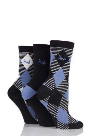 Ladies 3 Pair Pringle Zainab Diamond Argyle and Plain Cotton Socks