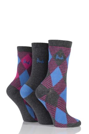 Ladies 3 Pair Pringle Zainab Diamond Argyle and Plain Cotton Socks Charcoal 4-8 Ladies