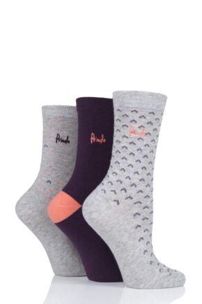 Ladies 3 Pair Pringle Lara Contrast Cotton Socks