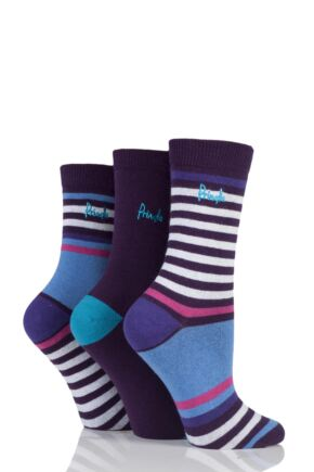 Ladies 3 Pair Pringle Fatima Mixed Stripe and Plain Cotton Socks Purple 4-8