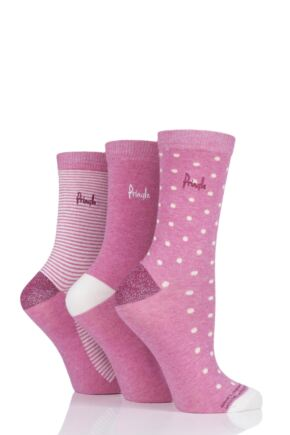 Ladies 3 Pair Pringle Lori Dots and Stripes Cotton Socks
