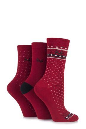 Ladies 3 Pair Pringle Kyra Plain and Fair Isle Cotton Socks Red 4-8 Ladies
