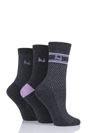 Ladies 3 Pair Pringle Lissa Pin Dot Cotton Socks