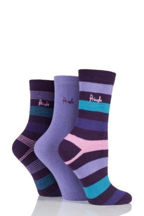 Ladies 3 Pair Pringle Shirley Varied Stripe and Plain Cotton Socks Purple 4-8 Ladies