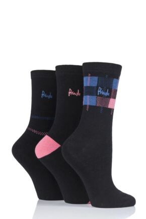 Ladies 3 Pair Pringle Serena Check Cotton Socks