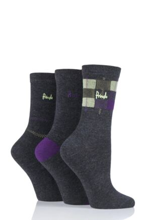 Ladies 3 Pair Pringle Serena Check Cotton Socks Charcoal 4-8 Ladies