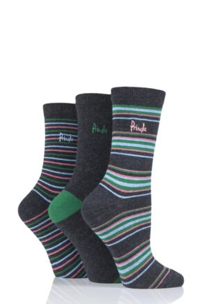 Ladies 3 Pair Pringle Hannah Striped Cotton Socks