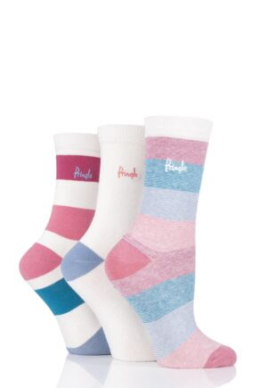 Ladies 3 Pair Pringle Janice Striped and Plain Cotton Socks
