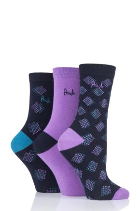 Ladies 3 Pair Pringle Jayne Diamond and Plain Cotton Socks