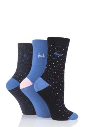 Ladies 3 Pair Pringle June Dots and Plain Cotton Socks