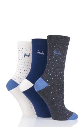 Ladies 3 Pair Pringle June Dots and Plain Cotton Socks