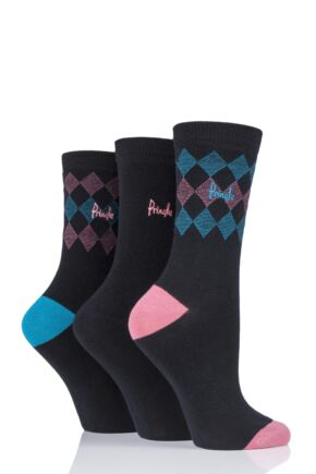 Ladies 3 Pair Pringle Mylee Diamond Cotton Socks