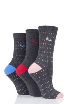 Ladies 3 Pair Pringle Kelly Lines Cotton Socks