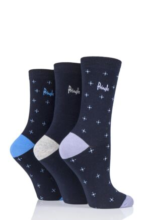 Ladies 3 Pair Pringle Andrea Crosses Cotton Socks