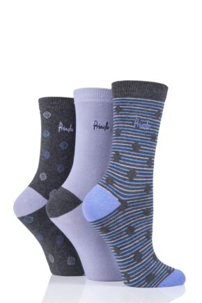 Ladies 3 Pair Pringle Katie Spots and Stripes Cotton Socks