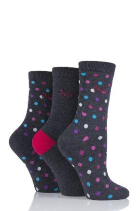 Ladies 3 Pair Pringle Gerry Spots Cotton Socks Grey 4-8 Ladies