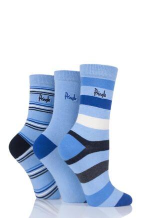 Ladies 3 Pair Pringle Melanie Stripes Cotton Socks