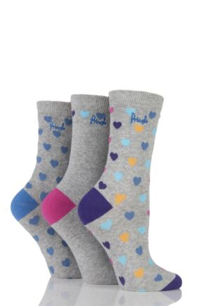 Ladies 3 Pair Pringle Rosie Heart Patterned Cotton Socks Light Grey 4-8
